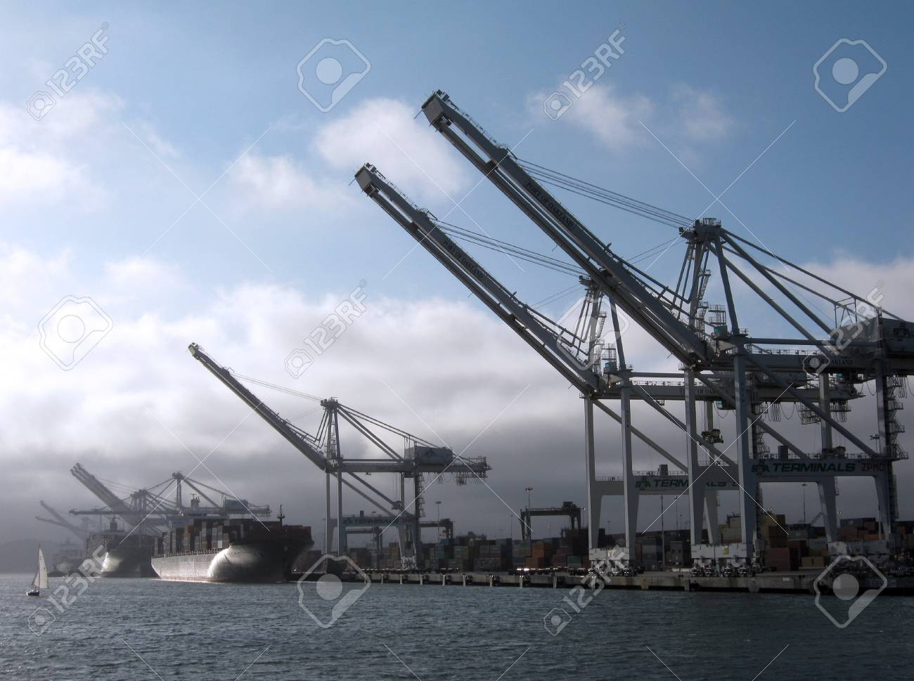 Shipping Cargo Boats line up in harbor under giants unloading cranes in Oakland Harbor with small sail boat passing by.  Taken August 4, 2010 Oakland California. Stock Photo - 7660007