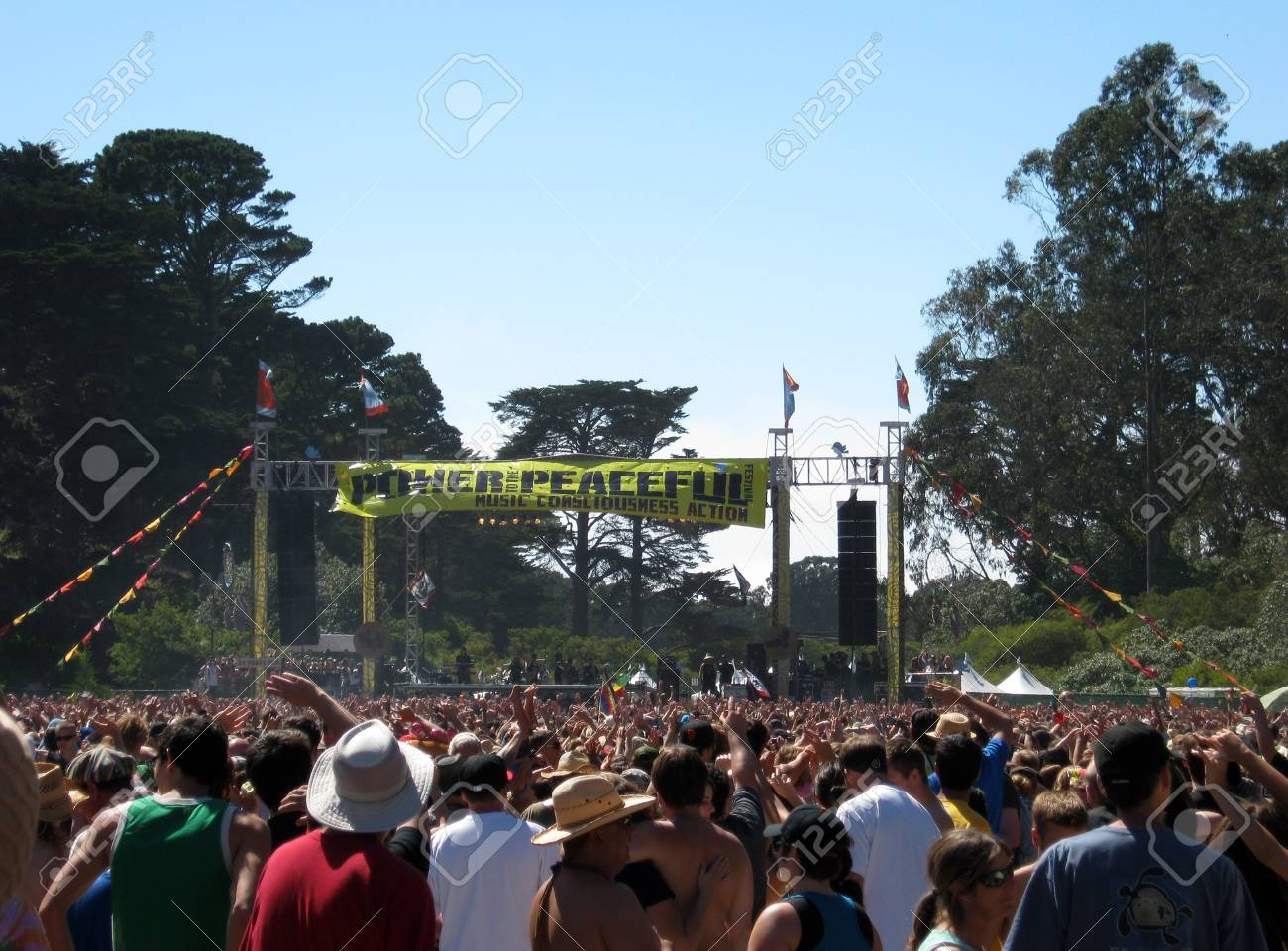 People wave hands in the air as Rebelution Plays at Power to the Peaceful 2010 Music Festival.  Taken September 11, 2010 at Golden Gate Park San Francisco. Stock Photo - 7863876