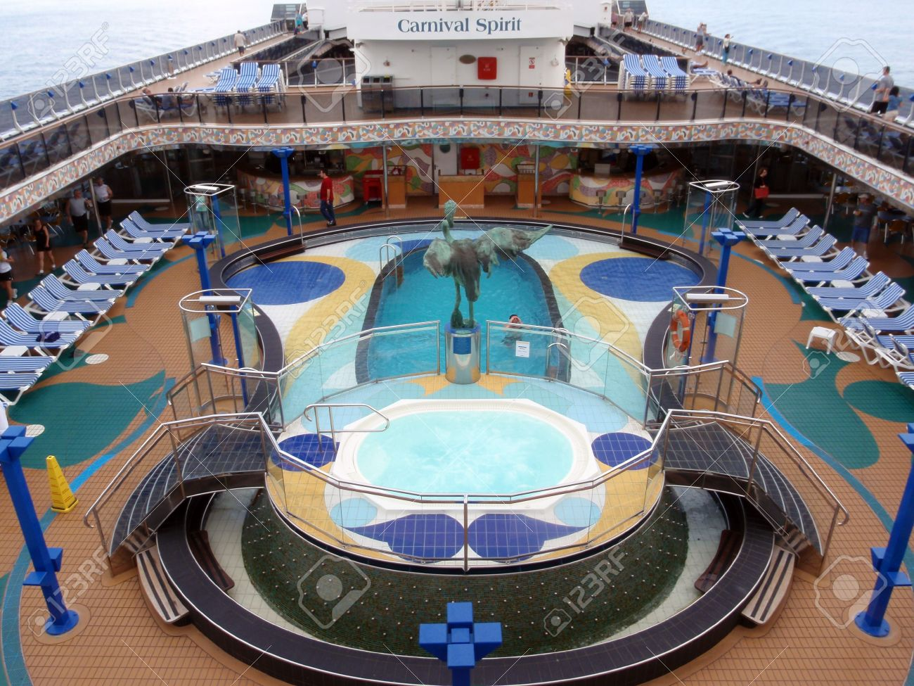 PACIFIC OCEAN JANUARY People Enjoy Pool Deck Of Cruise Ship - Cruise ship pacific