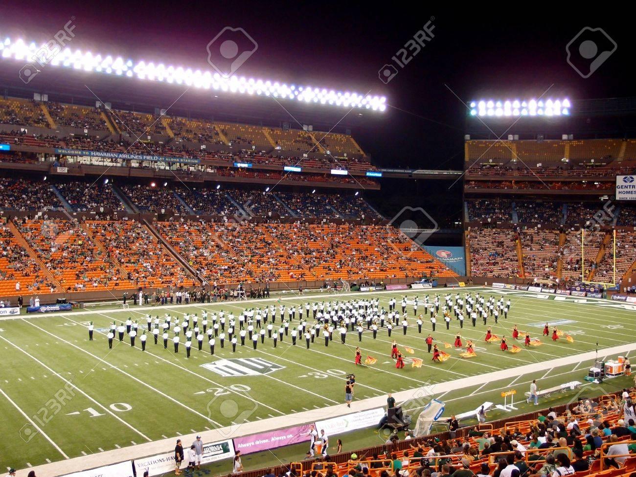 HONOLULU, HI - NOVEMBER 24: Half Time Show during Football game at Aloha Stadium November 24, 2012 on Oahu, Hawaii. Stock Photo - 18306254