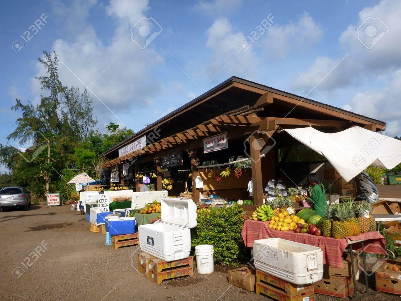 KAHUKU, HI - MAY 8: Kahuku Land Farms roadside shop sell friuts and veggies to people along the highway May 8, 2012 in Kahuku, Hawaii. Stock Photo - 18306247