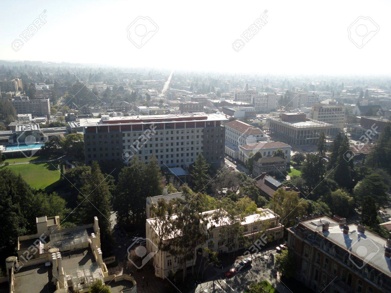 Birds eye view of Historic and modern Buildings of UC Berkeley