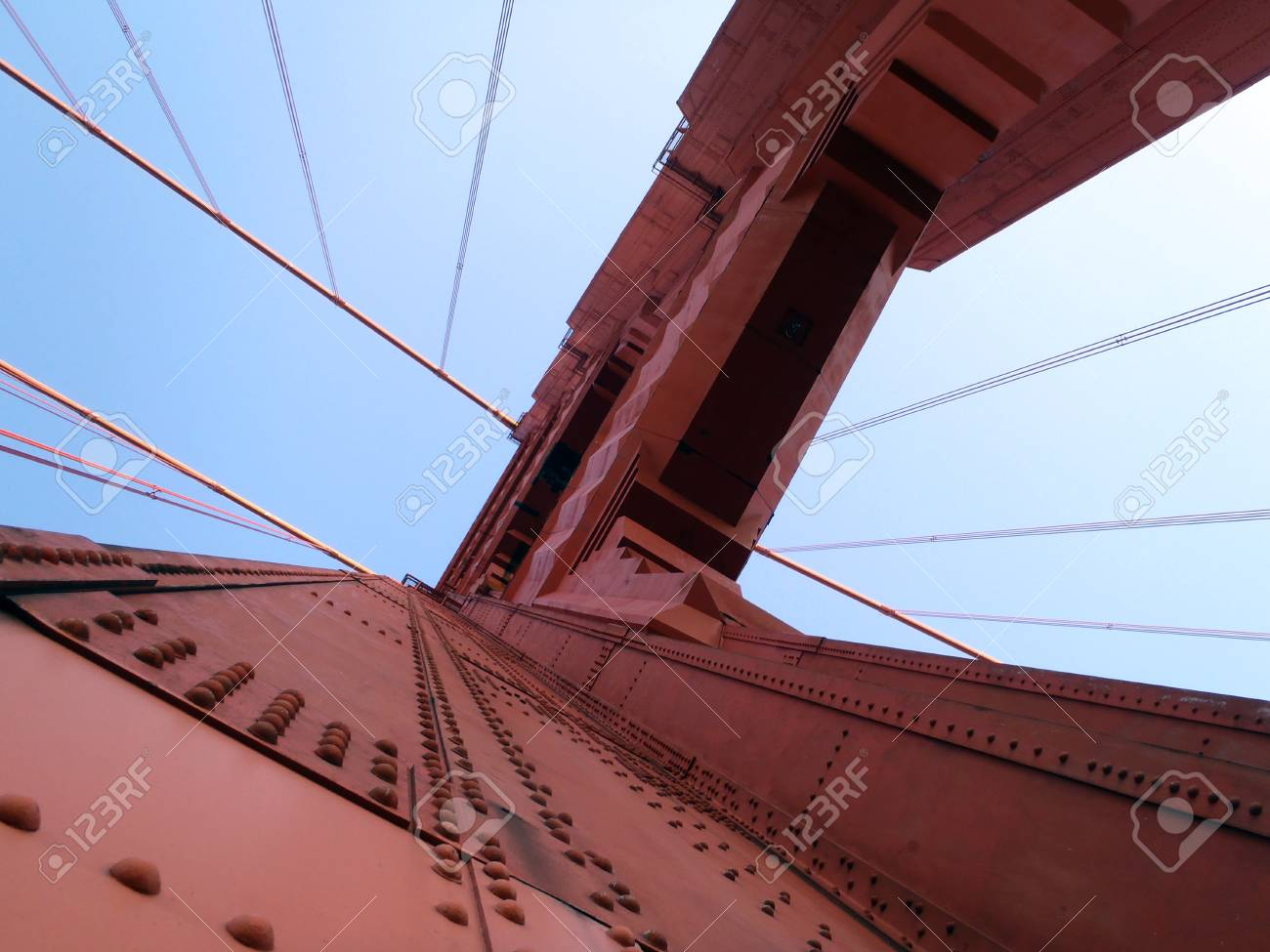 Upward perspective of Art Deco Tower and supporting cables on..