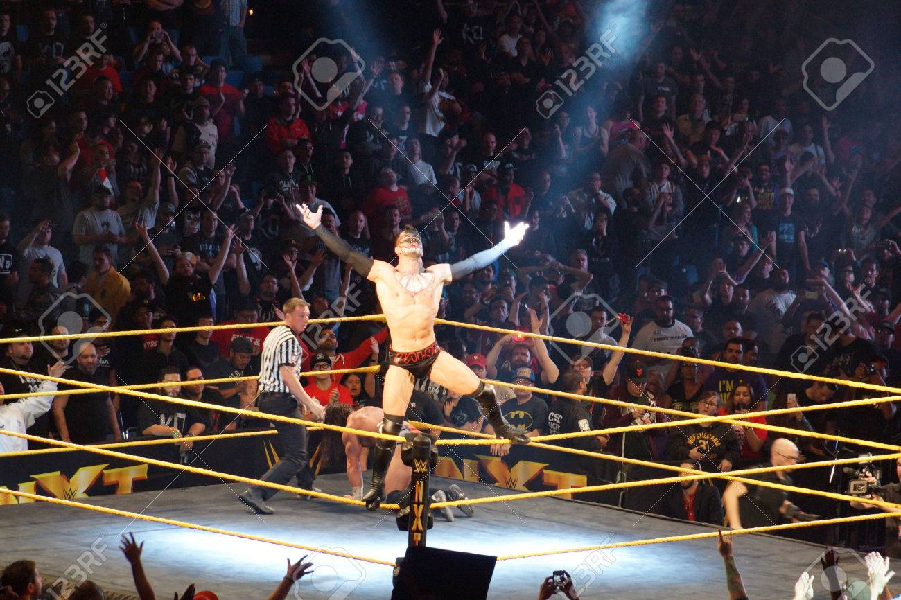 SAN JOSE - MARCH 27: NXT male wrestler Finn Balor opens arms