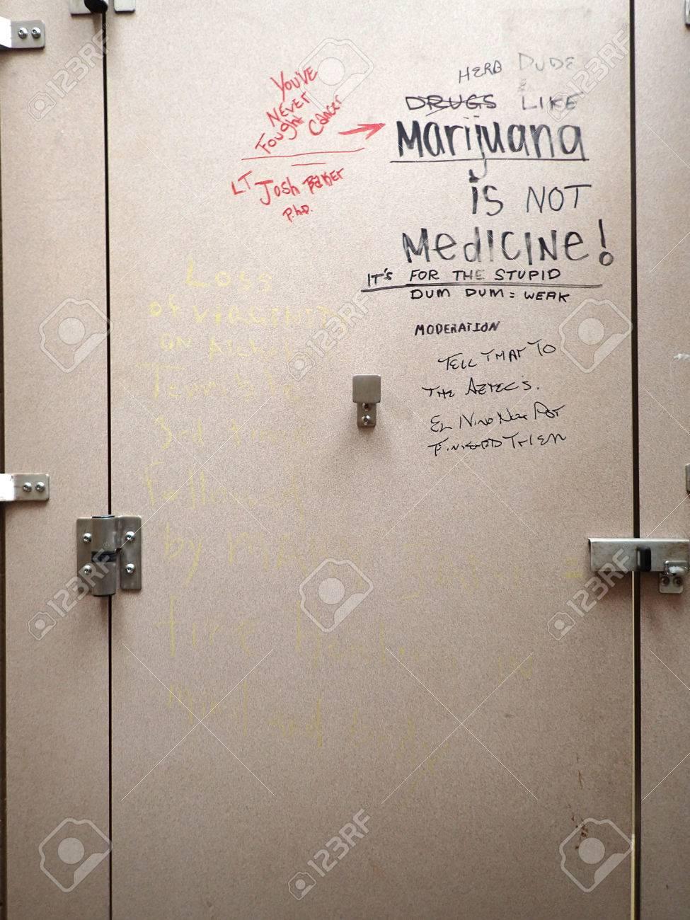 MAUI HI January Graffiti On Bathroom Stall Door Stock - Public bathroom stalls