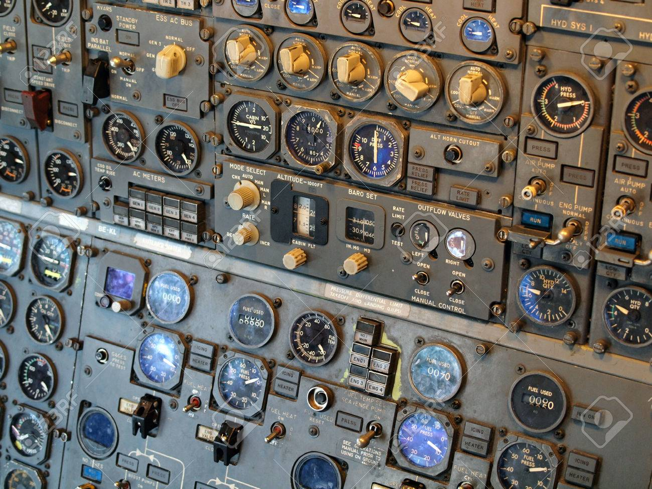 Jet aircraft cockpit Equipment with various indicators, buttons,