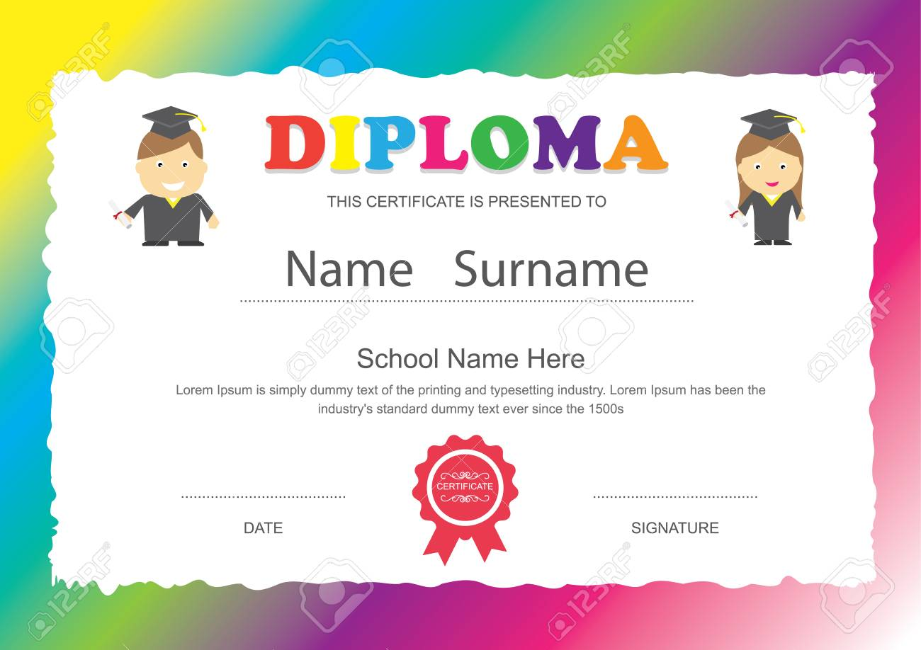 Preschool kids elementary school diploma certificate design preschool kids elementary school diploma certificate design template background stock vector 42175504 yelopaper