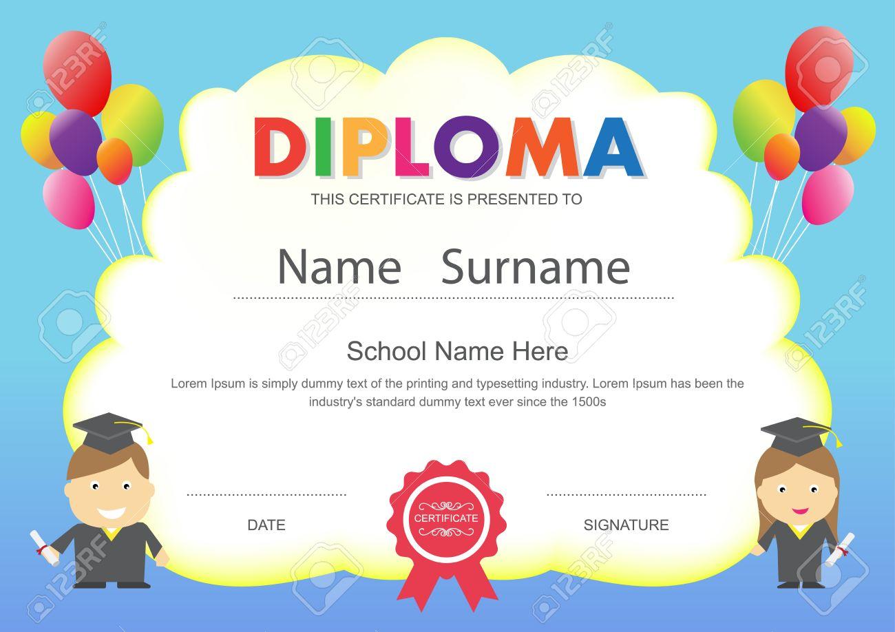 preschool kids elementary school diploma certificate design template