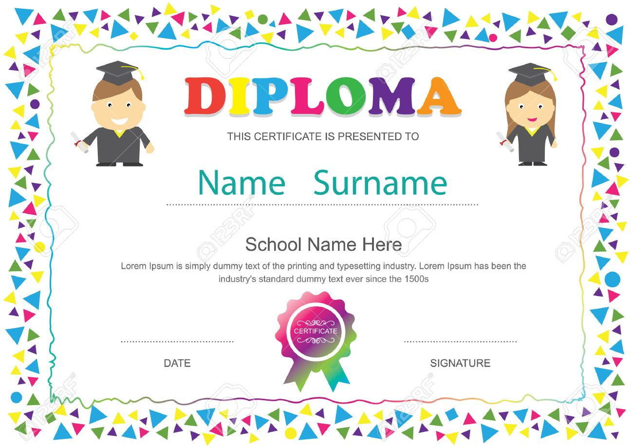 Preschool Kids Diploma Certificate Elementary School Design – Sample Certificates for Kids