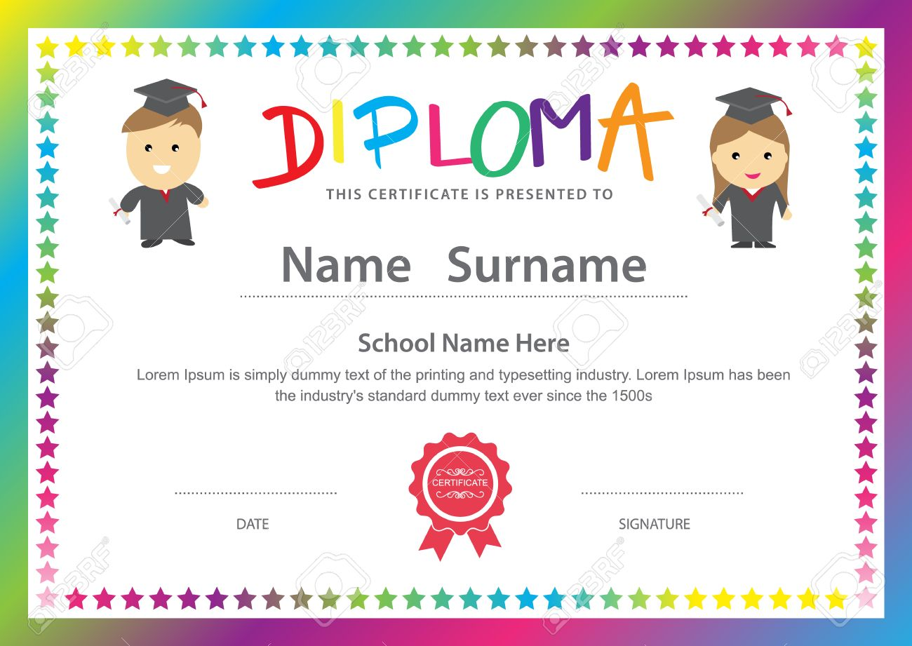 Preschool kids elementary school diploma certificate design preschool kids elementary school diploma certificate design background template stock vector 47120960 xflitez Images