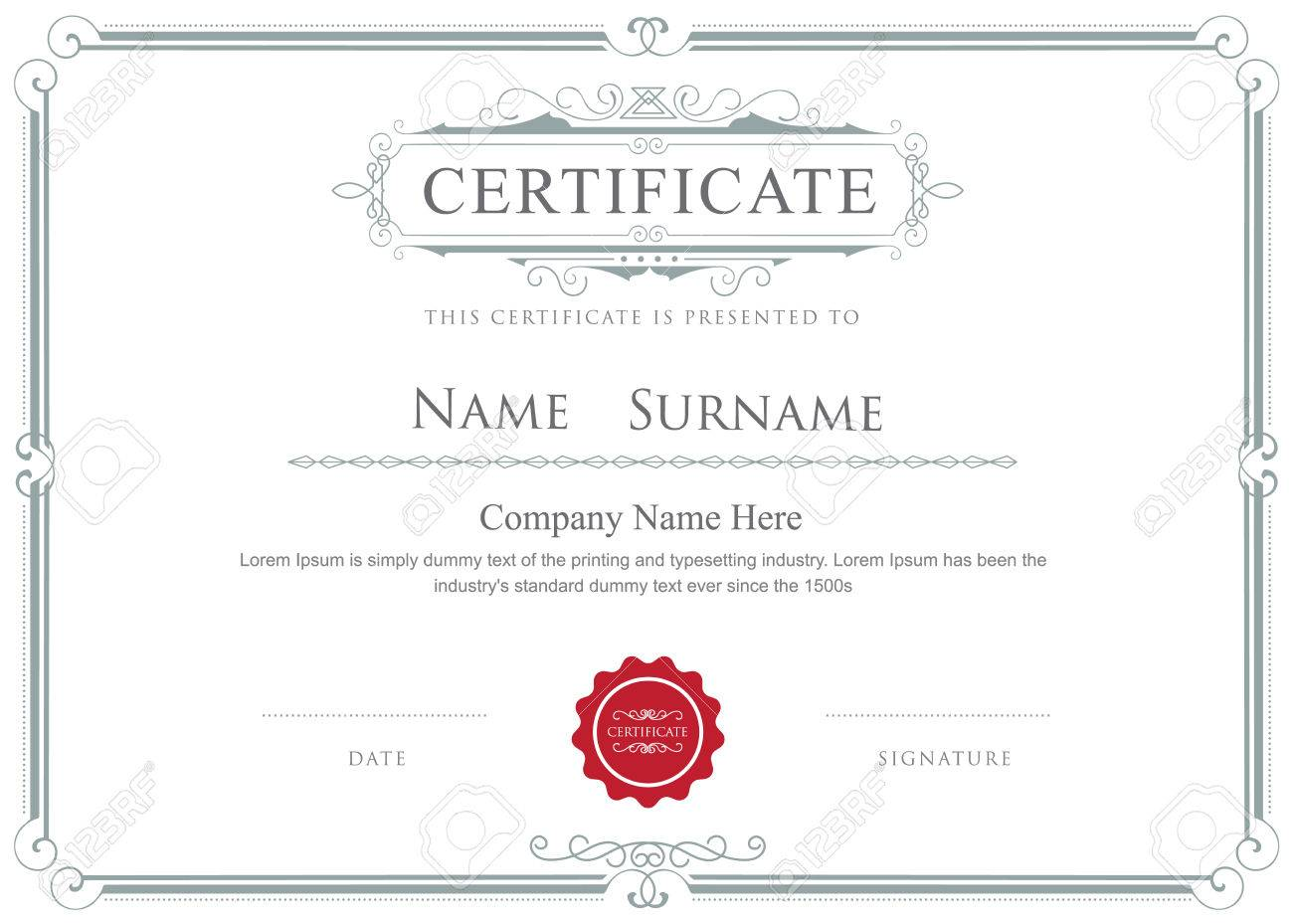 Certificate Border Vector Elegant Flourishes Template Royalty Free ...