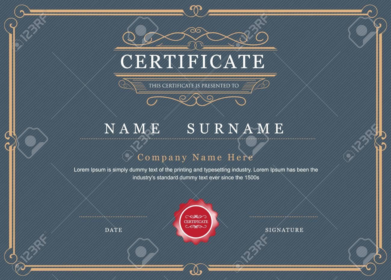 Certificate Achievement Frame Border Elegant Flourishes Template ...