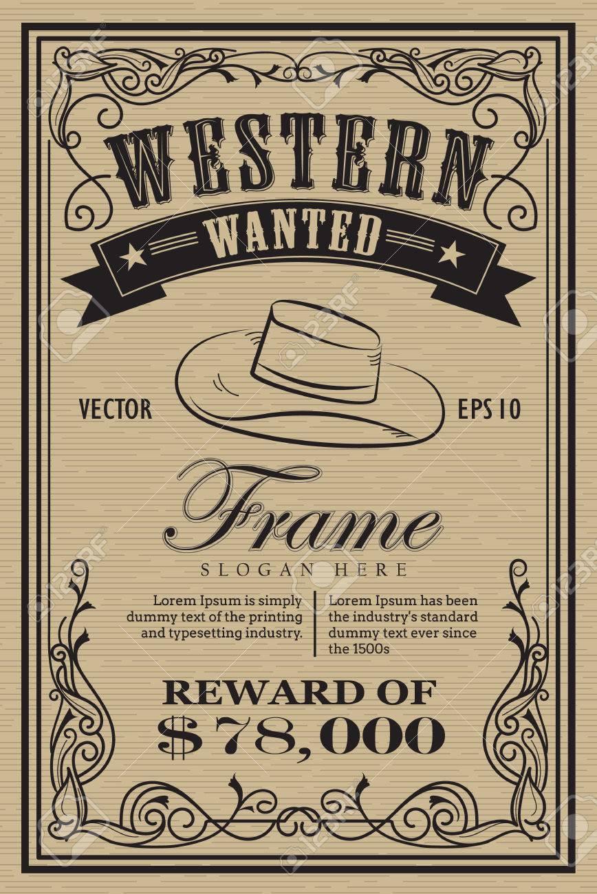 Western vintage frame label wanted retro hand drawn vector illustration - 53994337