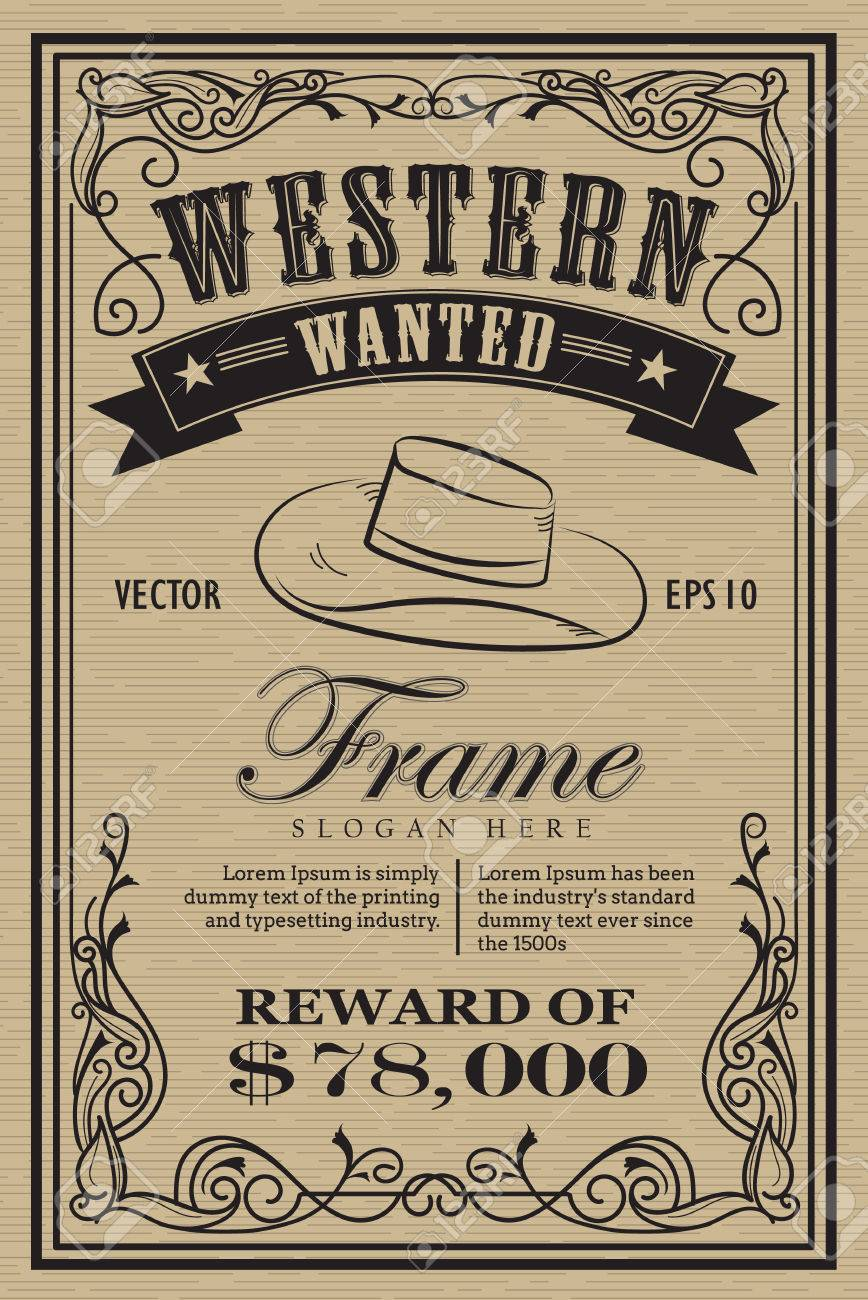 Western Vintage Frame Label Wanted Retro Hand Drawn Vector ...