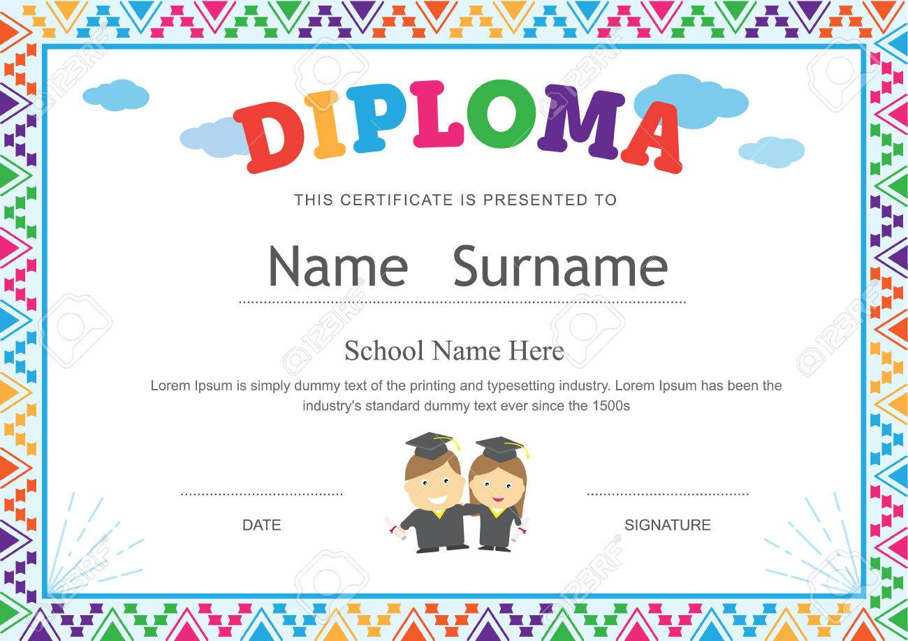 kids diploma preschool certificate elementary school template  kids diploma preschool certificate elementary school template background design stock vector 69735832