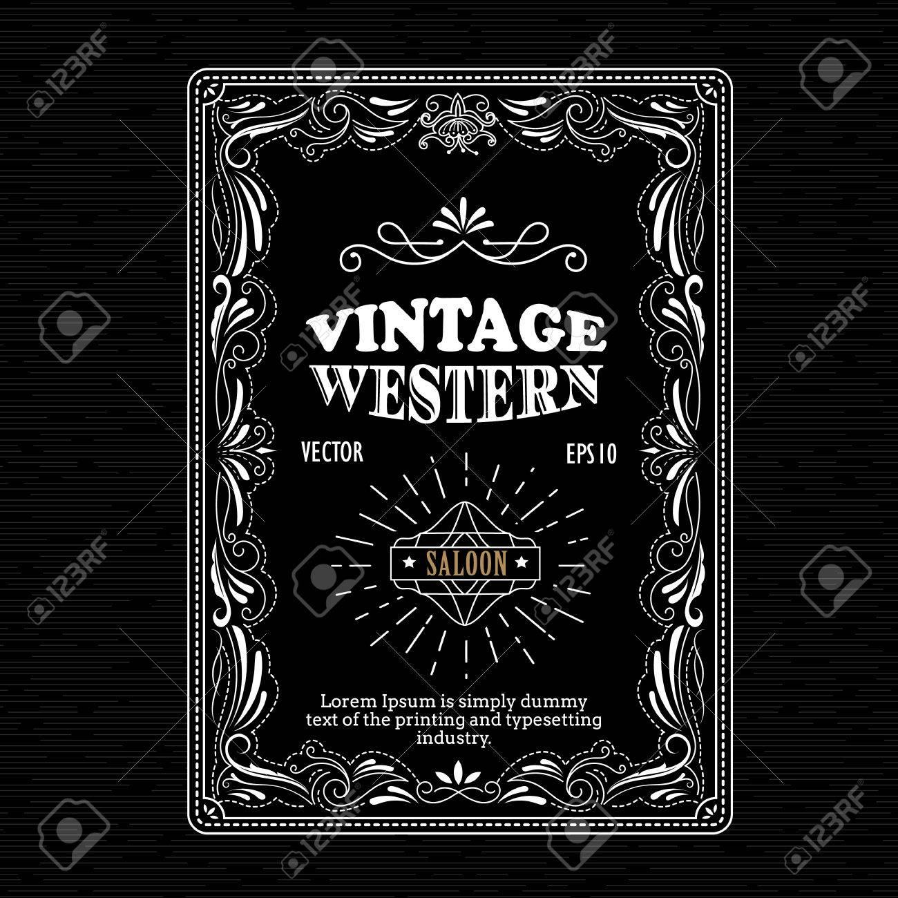 Vintage Marco Frontera Occidental Etiqueta Mano Dibujado Retro ...