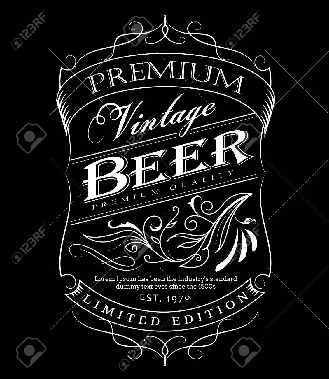 Cerveza Etiqueta Occidental Mano Dibujado Marco Pizarra Tipografía ...