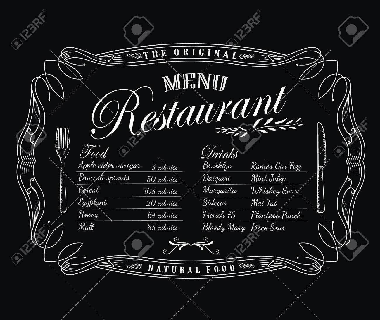 Restaurant-Menü Tafel Vintage-Rahmen Antiken Etikett Hand Gezeichnet ...