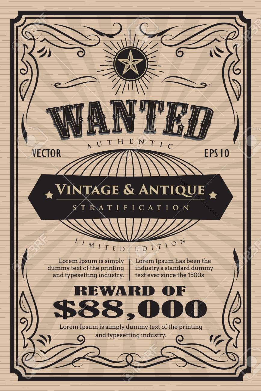 Western Vintage Frame Label Wanted Antique Hand Drawn Retro Vector ...