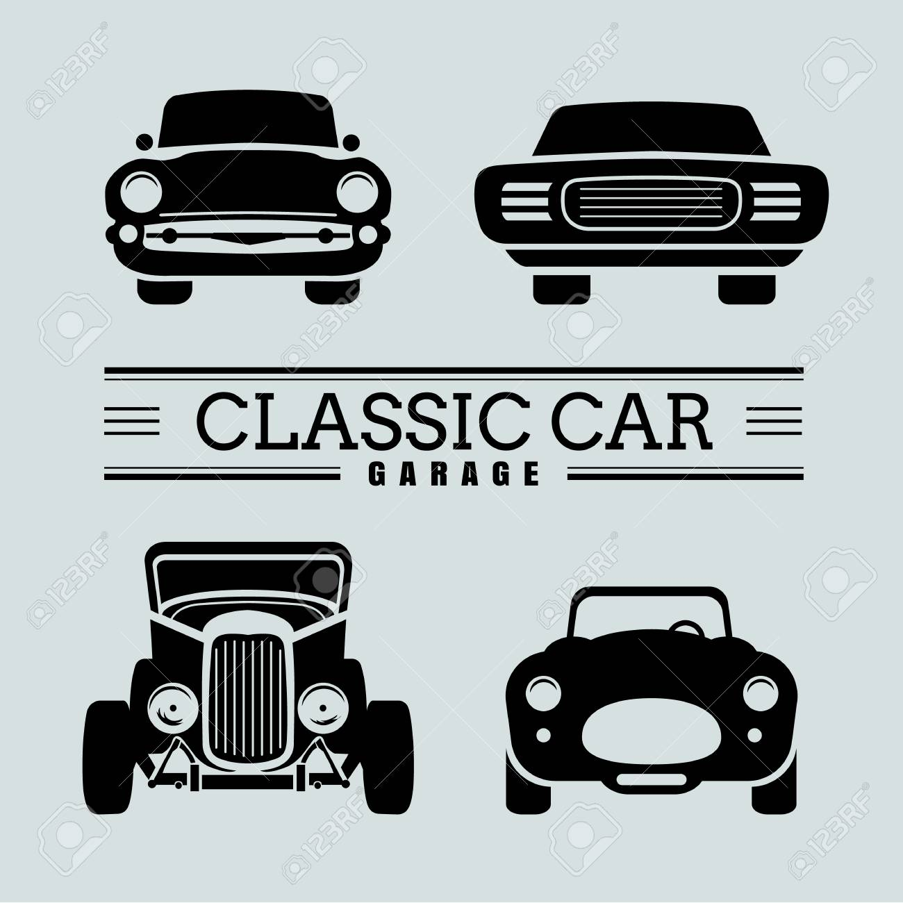 Set Classic Car Front View Icon Vector Illustrations Royalty Free