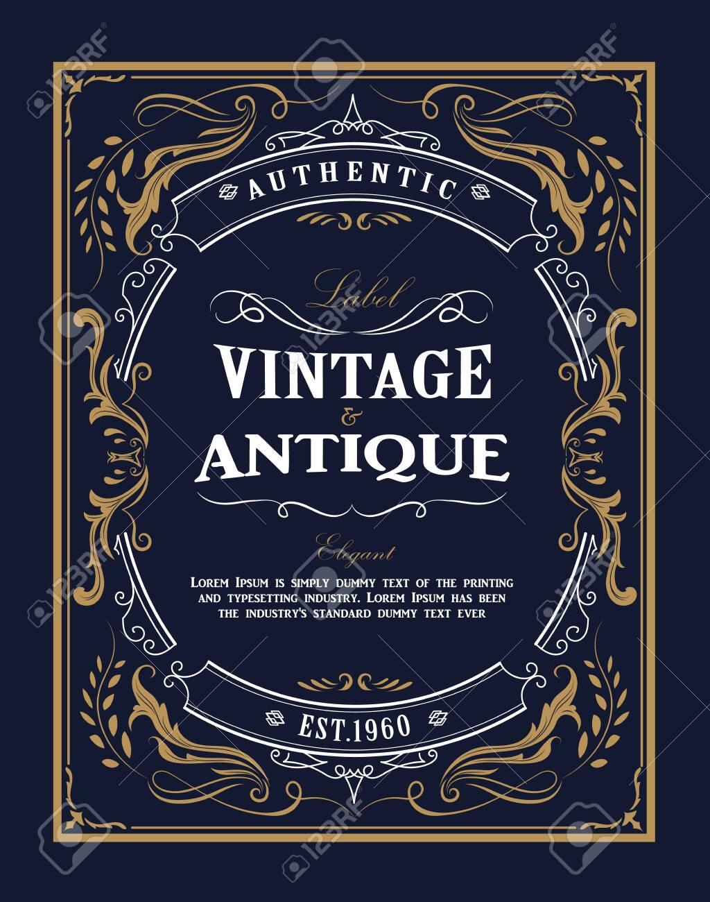 Hand drawn frame Western vintage label Antique banner flourishes design vector illustration - 143174070