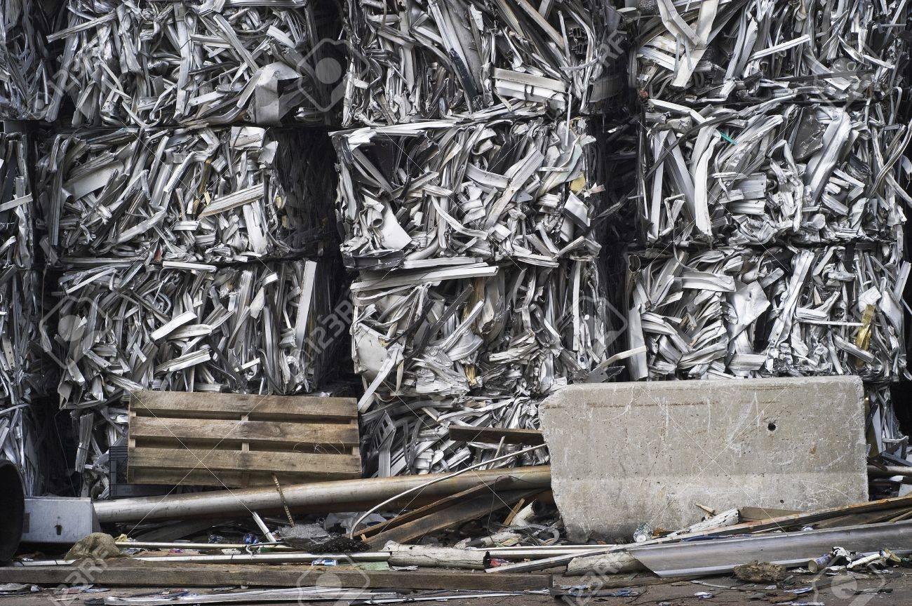 Scrap Aluminum Bales Stacked Sky High Stock Photo - 7112775