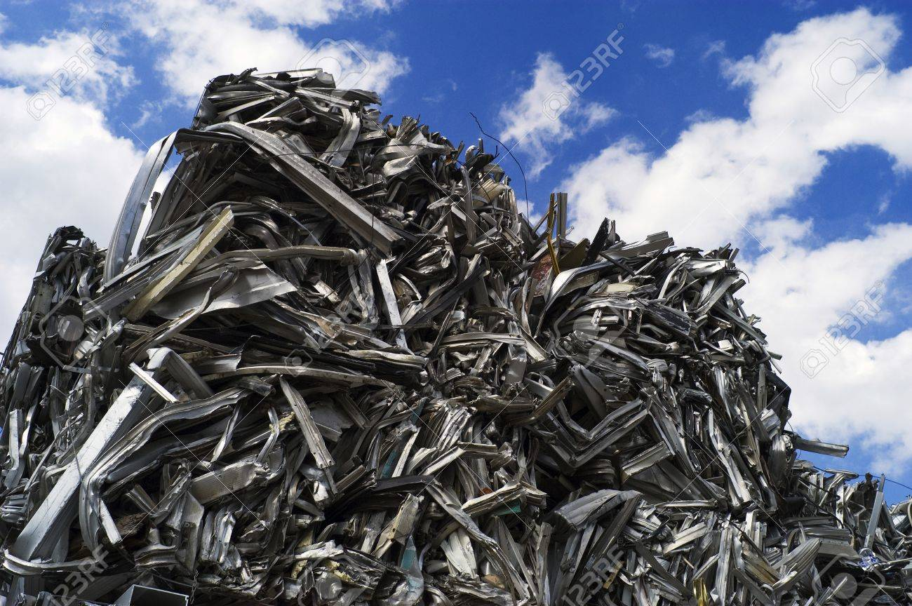 Recycled Aluminum Cubes stacked Sky High Stock Photo - 7112761