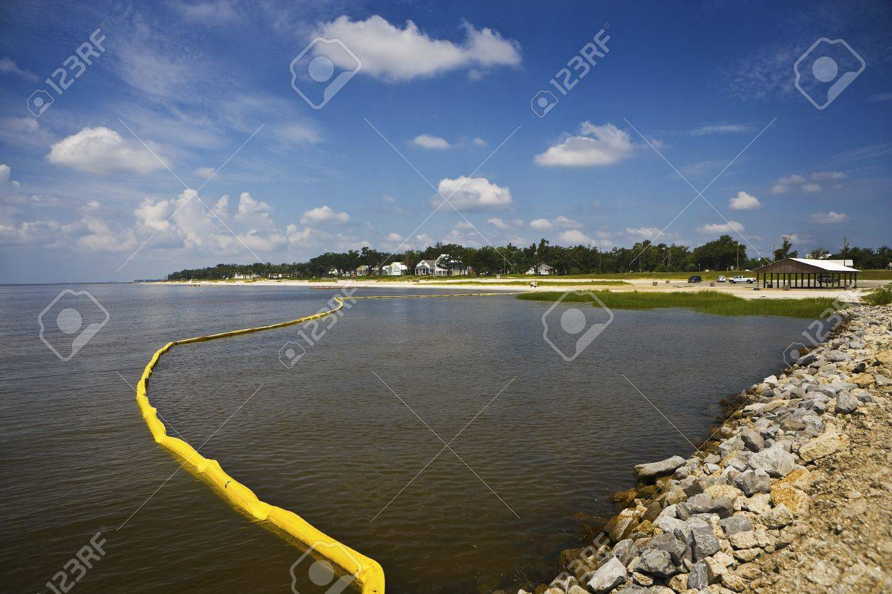 Yellow Oil Boom & Quiet Bay, Mississippi Stock Photo - 7748148
