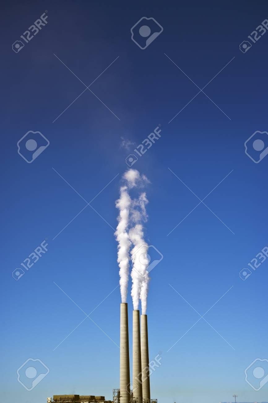 3 Smoke Stacks at a Power Plant Stock Photo - 8396699