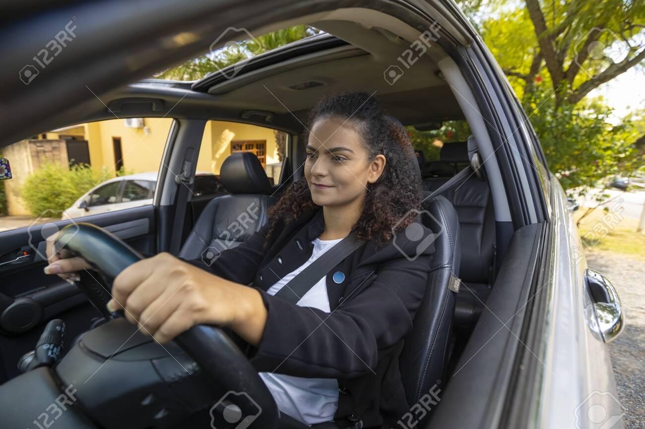 Woman driving unprotected conduction during coronavirus quarantine - 148759172