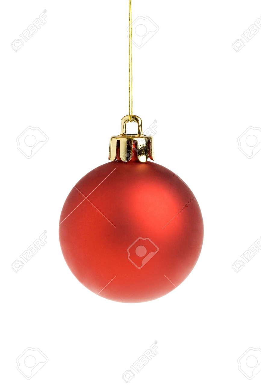 nica roja bola de navidad aisladas sobre un fondo blanco foto de archivo