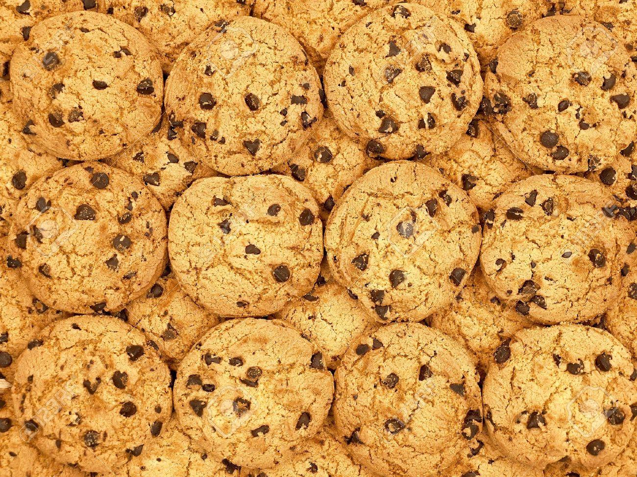 チョコレート チップ クッキーの壁紙の背景 の写真素材 画像素材