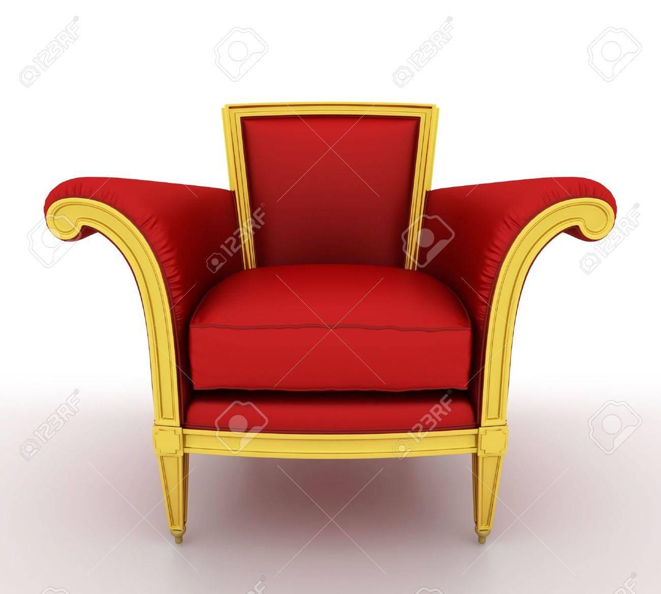 Classique Chaise Rouge Brillant Isole Sur Un Fond Blanc Banque D