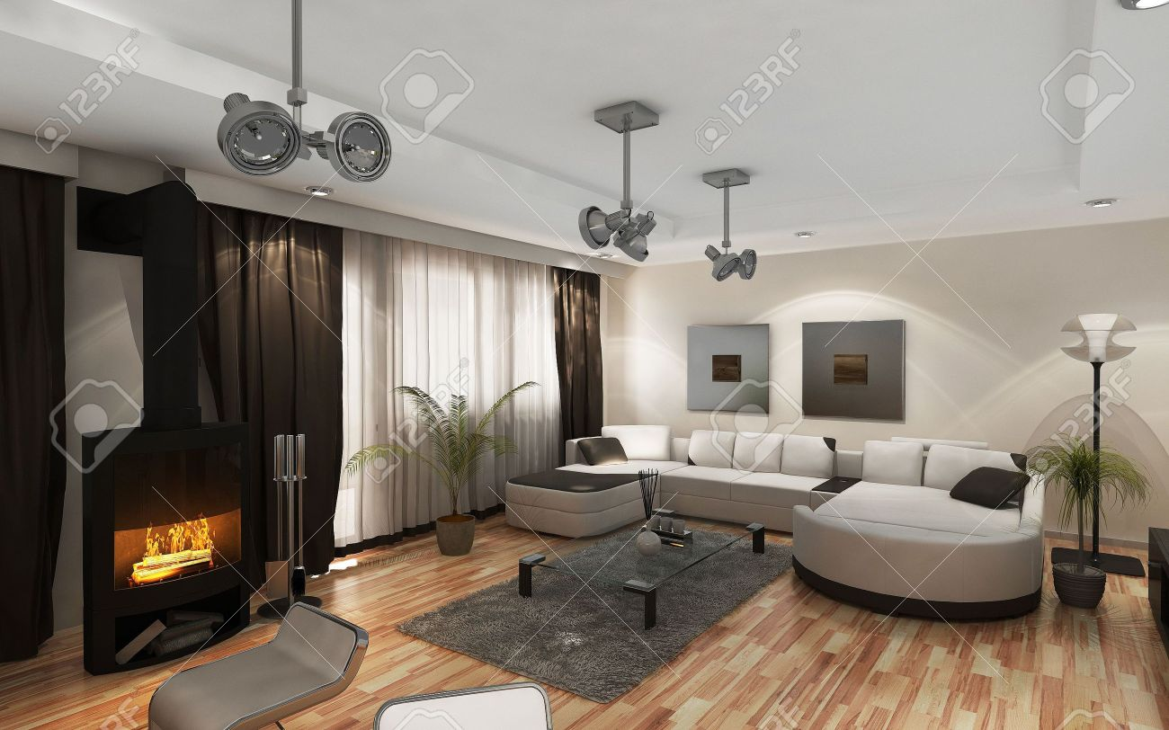 Moderne wohnzimmer mit kaminofen  Moderne Wohnzimmer Mit Der Modernen Möbeln Und Kamin Lizenzfreie ...
