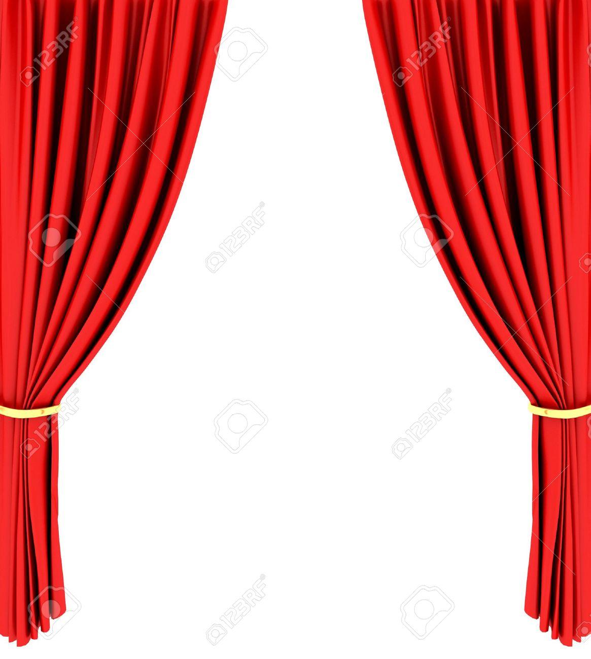 Rode Theater Gordijn Geïsoleerd Op Witte Achtergrond Royalty-Vrije ...