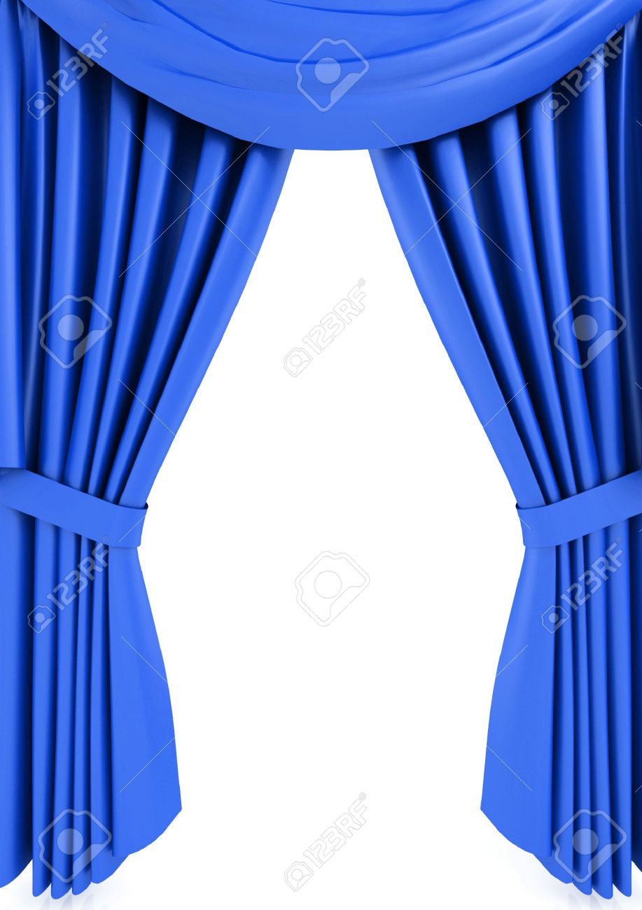 Blue curtain backdrop - Blue Theatre Curtains Blue Theater Curtain Isolated On White Background Stock Photo 6490882