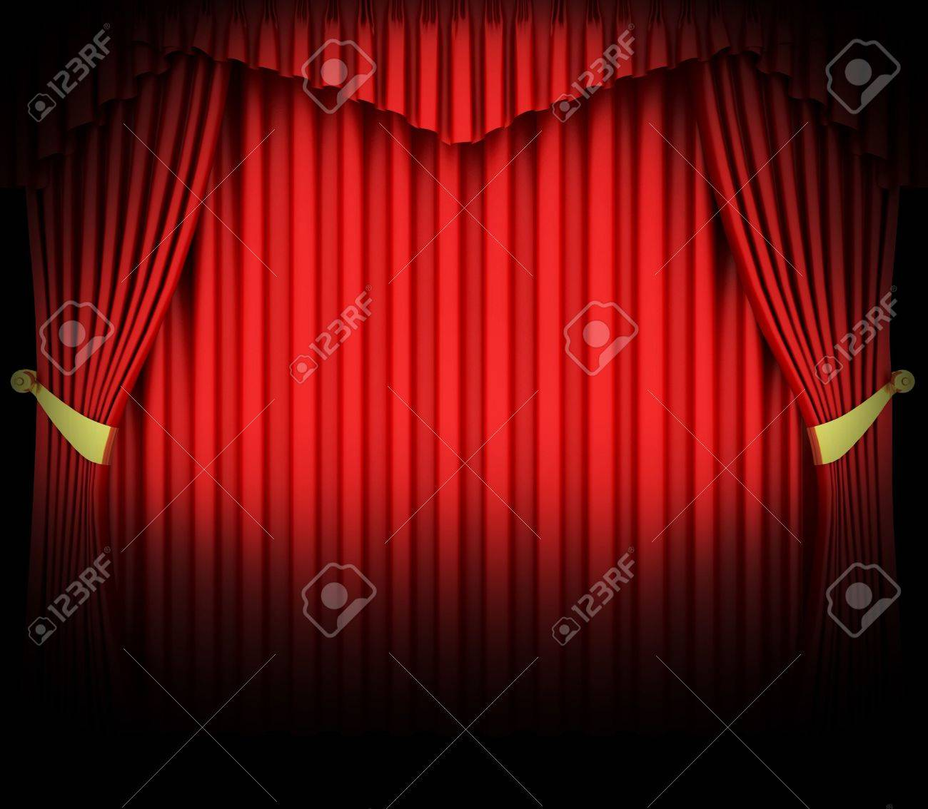 Empty stage curtains with lights - Red Theater Curtain With Spot Lights Stock Photo 6490943