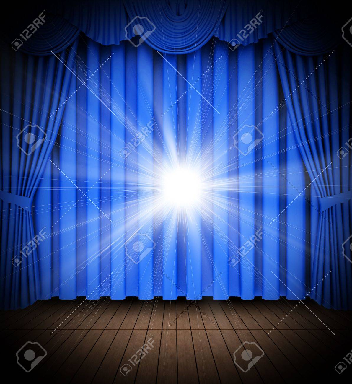 Blue stage curtains blue stage curtain vector free vector in - Light Blue Stage Curtain Blue Theater Curtain Opening Scene With Spot Lights Stock Photo 6491012