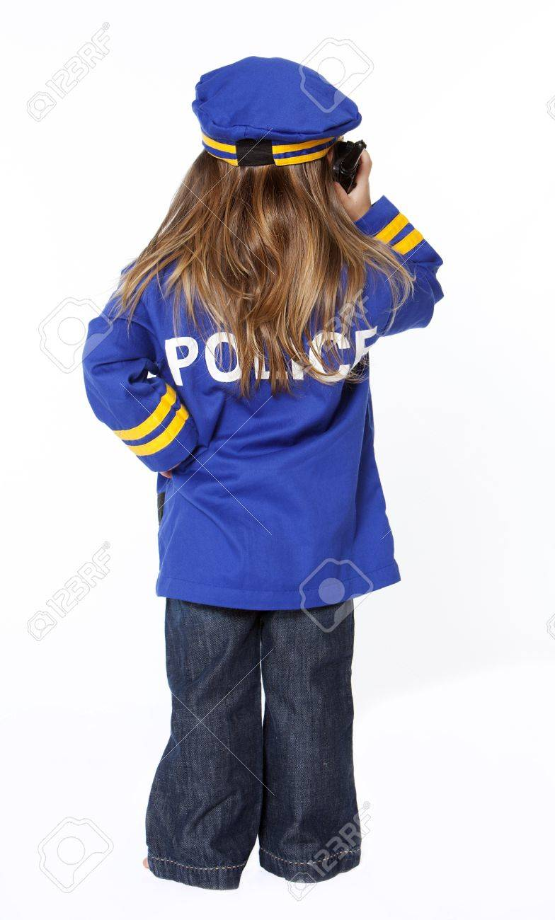 Stock Photo - Young girl in police costume from behind  sc 1 st  123RF.com & Young Girl In Police Costume From Behind Stock Photo Picture And ...