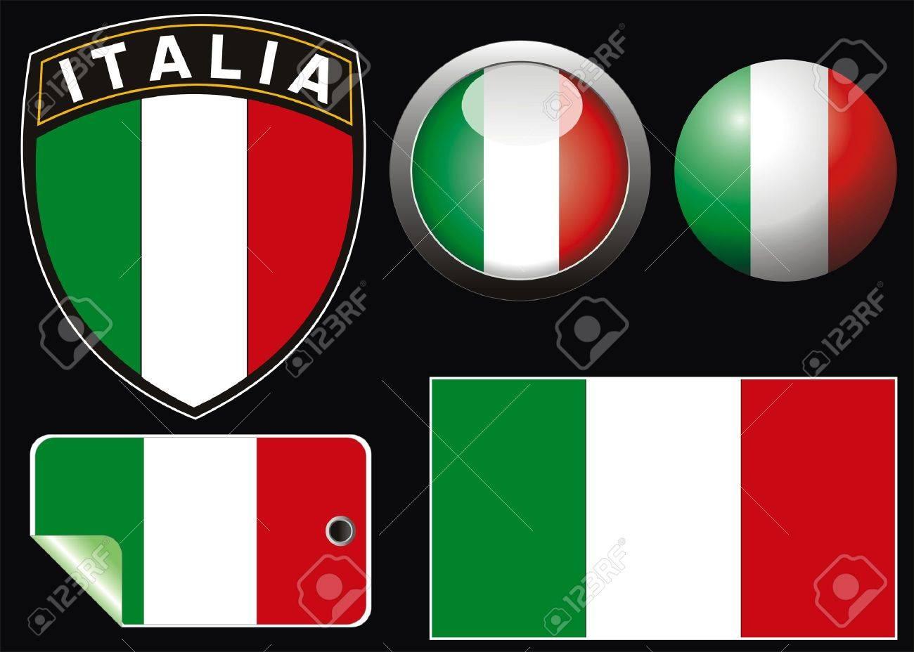 italian vector flag with aqua style and crest Stock Vector - 3995997