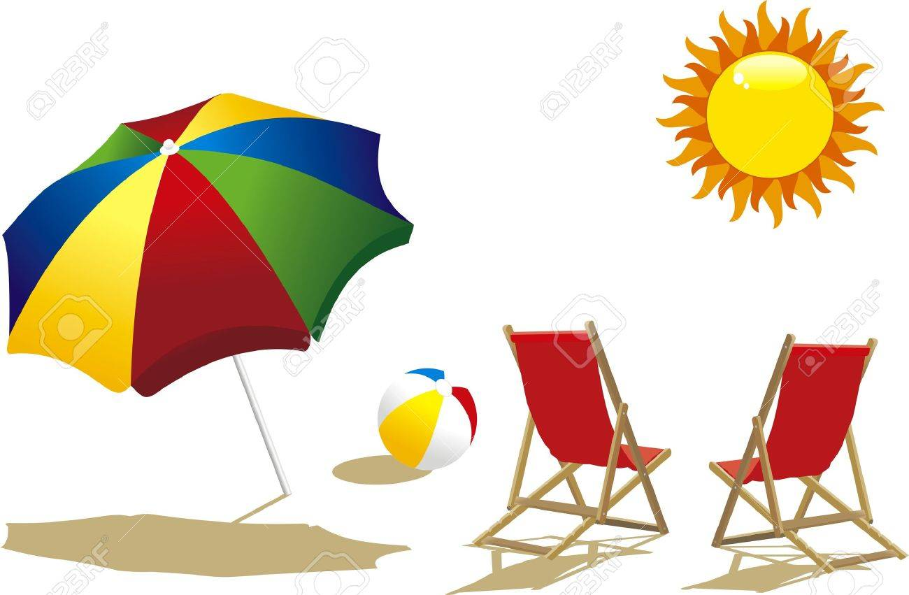 Deckchair With Umbrella Deckchair And Beach Ball Royalty Free