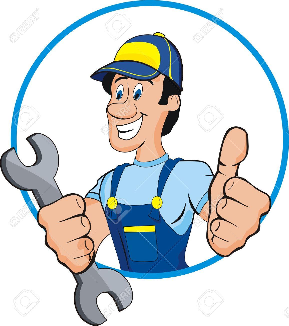 Cartoon mechanic with tools - 12497728