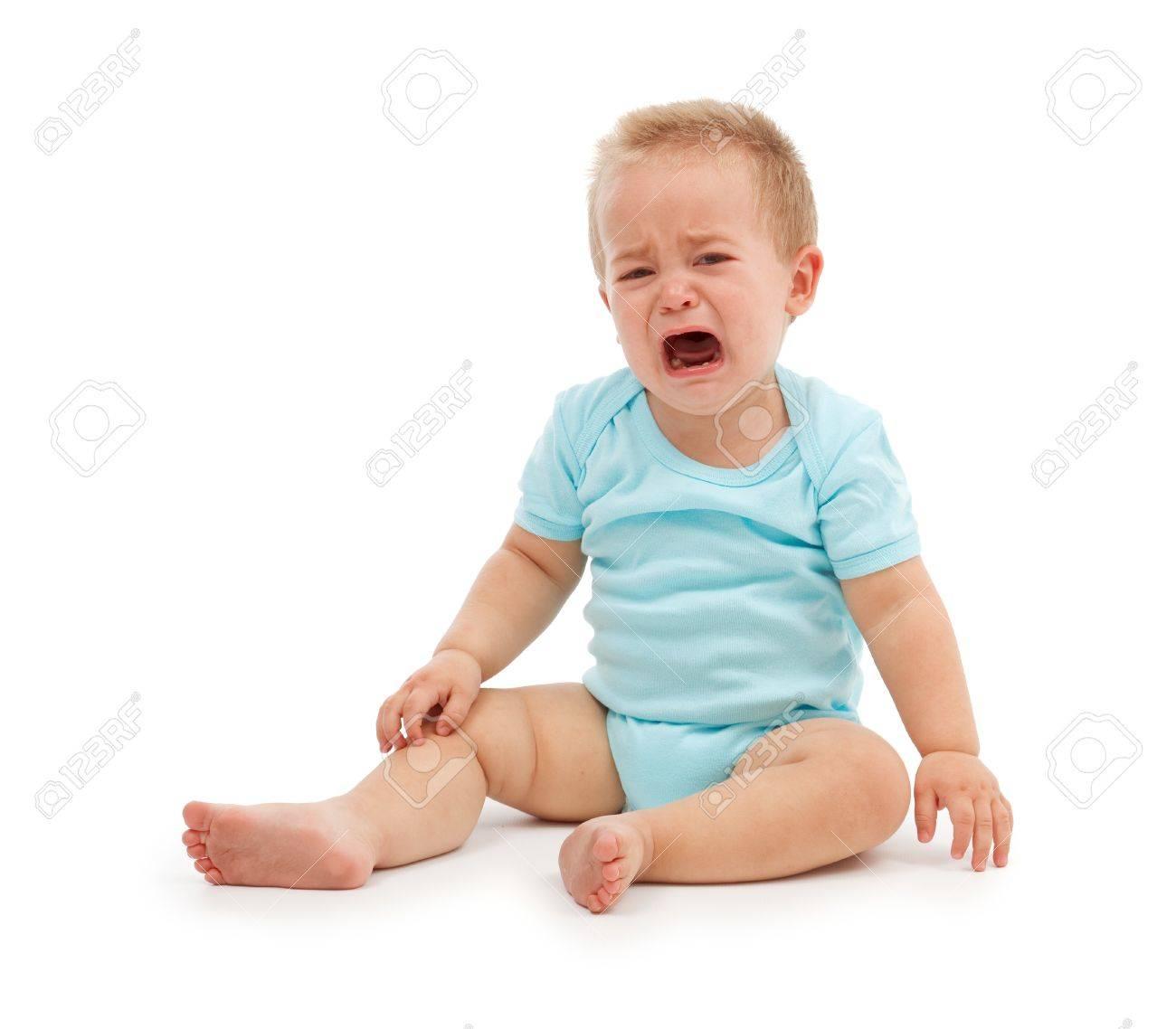 Sad baby boy sitting and crying Stock Photo - 7534174