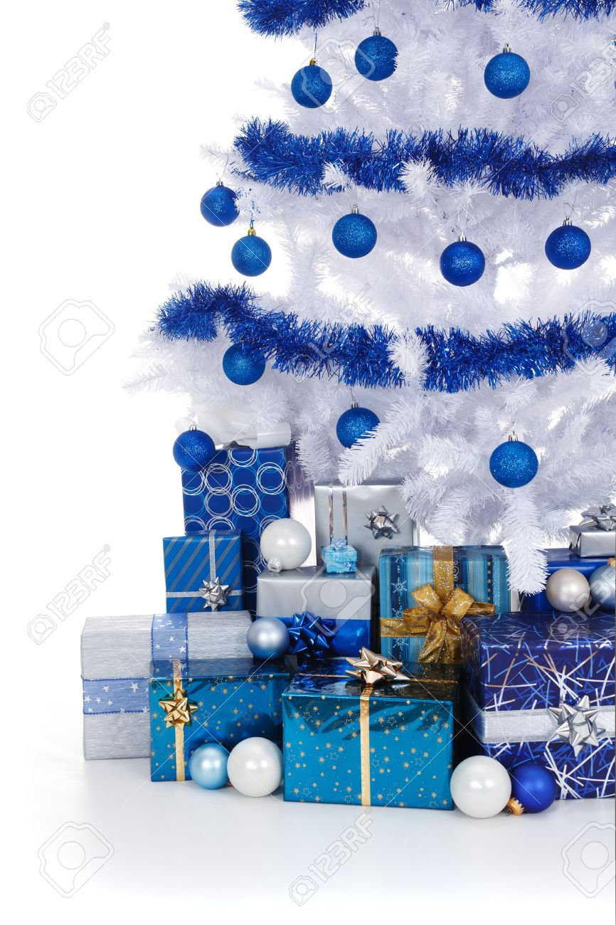 Artificial White Christmas Tree Decorated With Blue Ornaments