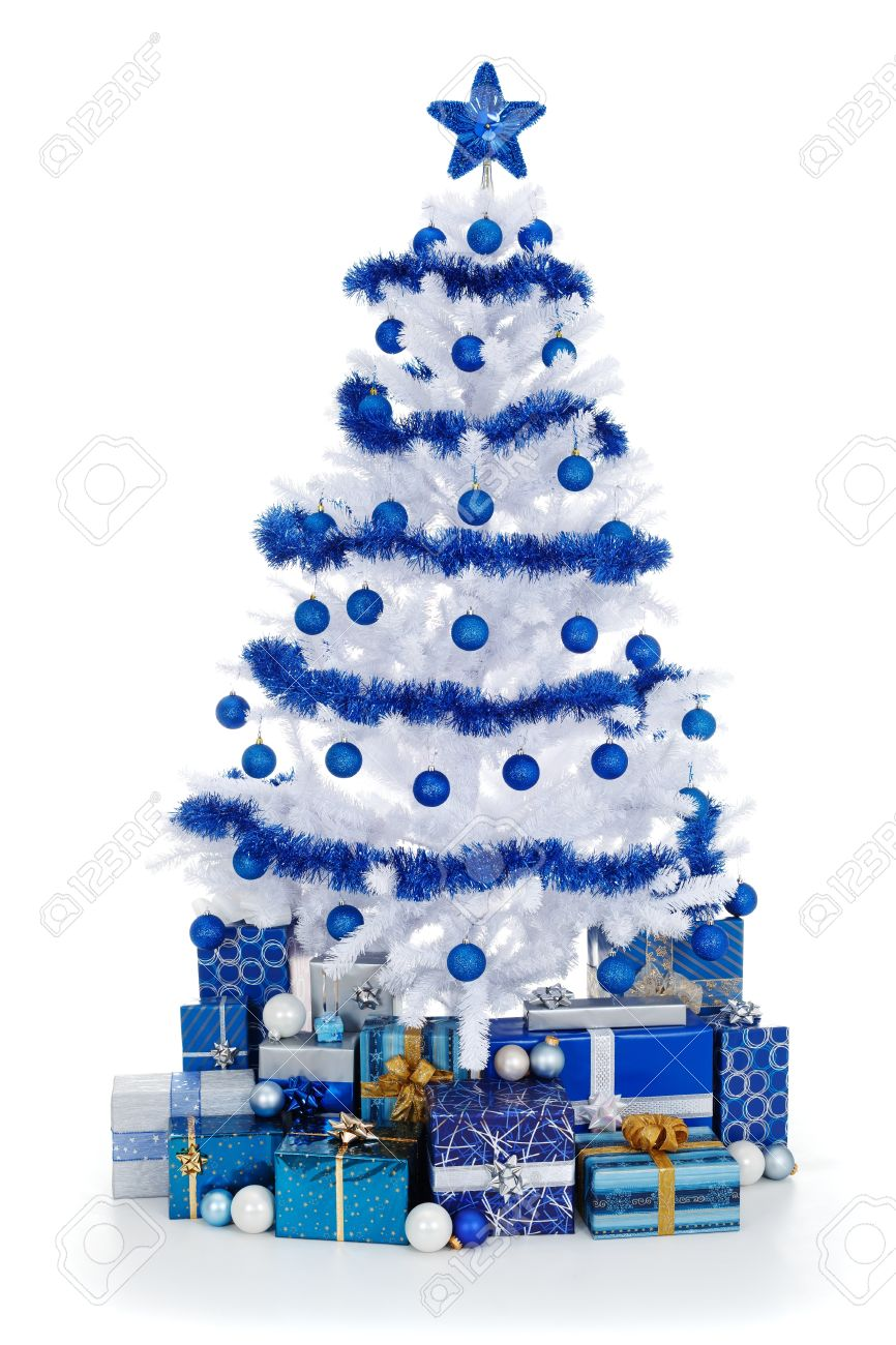 White christmas tree decorations blue - Artificial White Christmas Tree On White Decorated With Blue Ornaments And Garland Lots Of