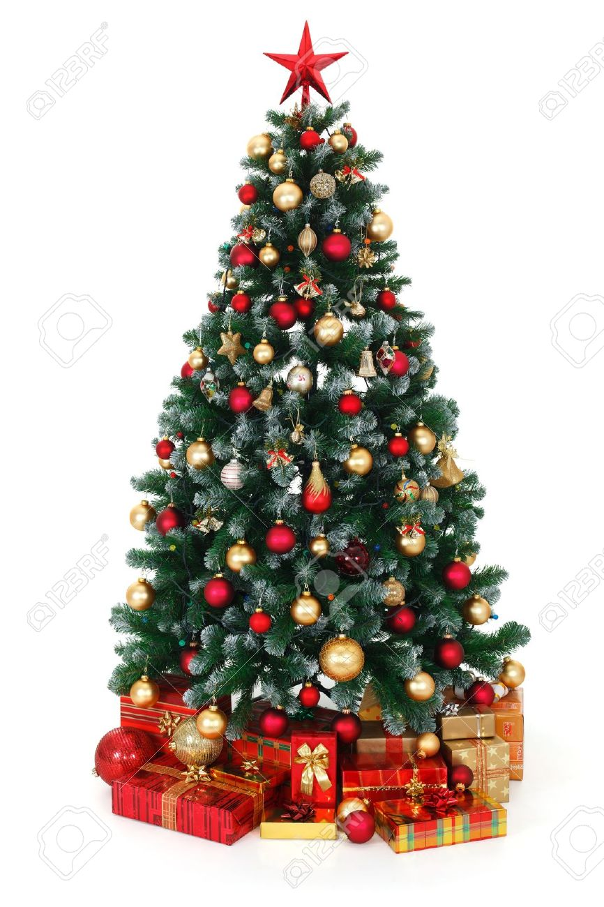 Red and green christmas tree decorations - Artificial Green Christmas Tree Decorated With Electric Lights Red And Golden Ornaments Lots