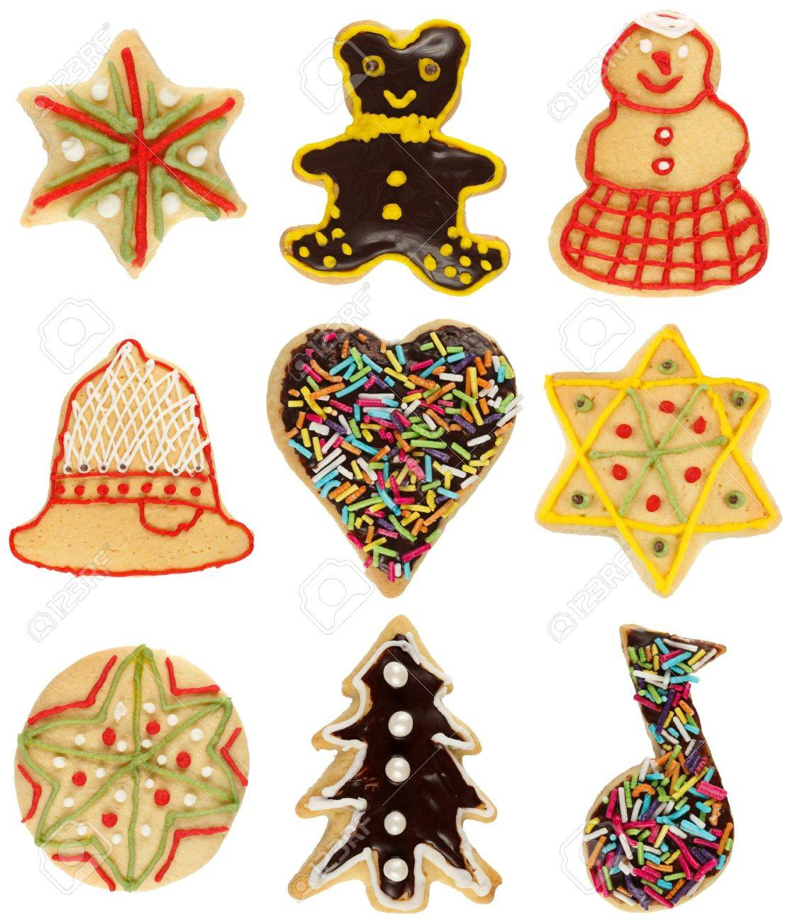 Various handmade decorated Christmas cookies, isolated on white Stock Photo - 14445193
