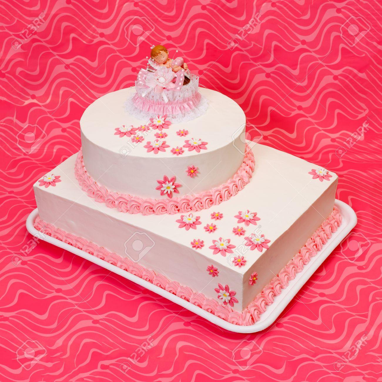 Weiss Taufe Kuchen Fur Madchen Mit Topper Und Pink Decoration