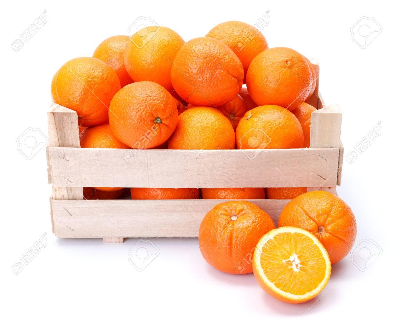 Ripe oranges in wooden box. Citrus sinensis - 36913365