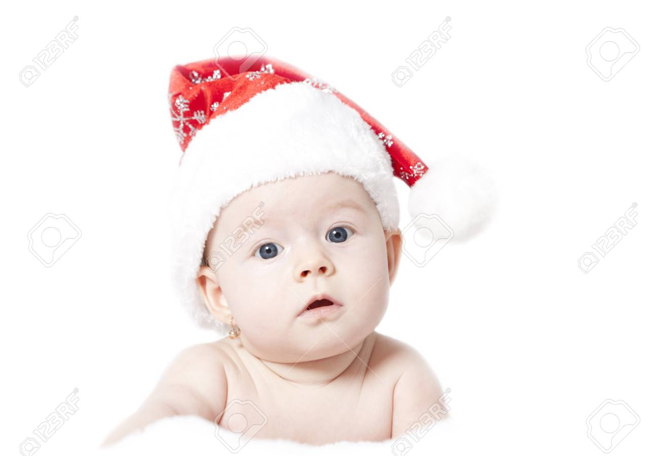 6f06d77510d Portrait of a baby with Santa hat isolated on white Stock Photo - 24041773